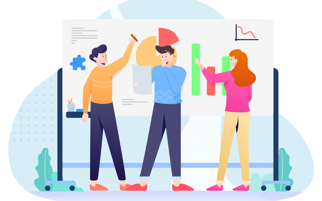 illustration of 3 people doing digital marketing strategy in front of graphs and charts
